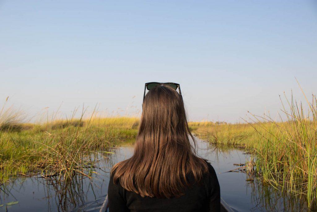 En un mokoro al Delta de l'Okavango