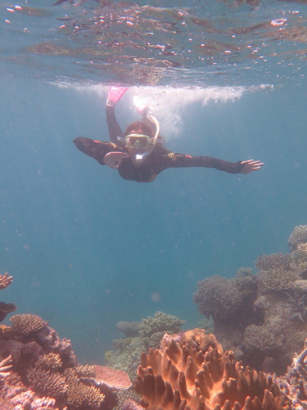 I'm8hoursahead fent snorkel a la gran barrera de coral