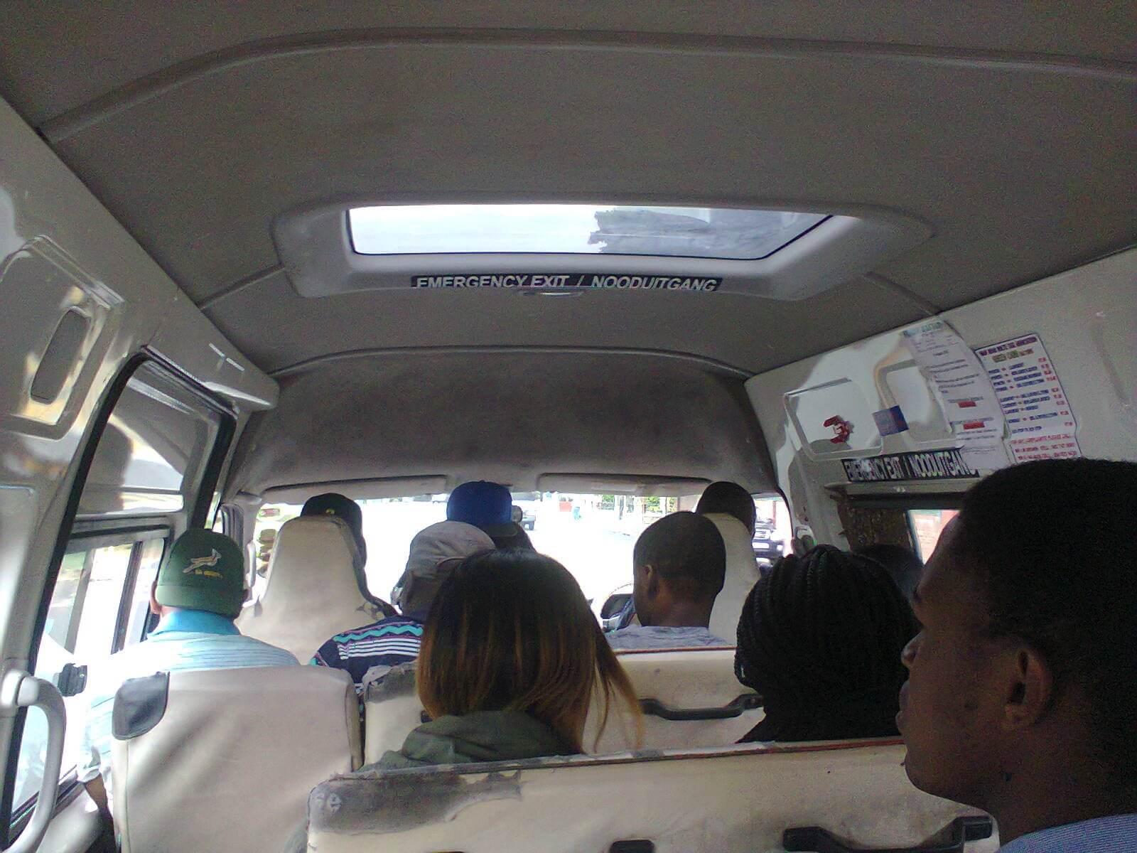 Inside of a Cape Town minibus