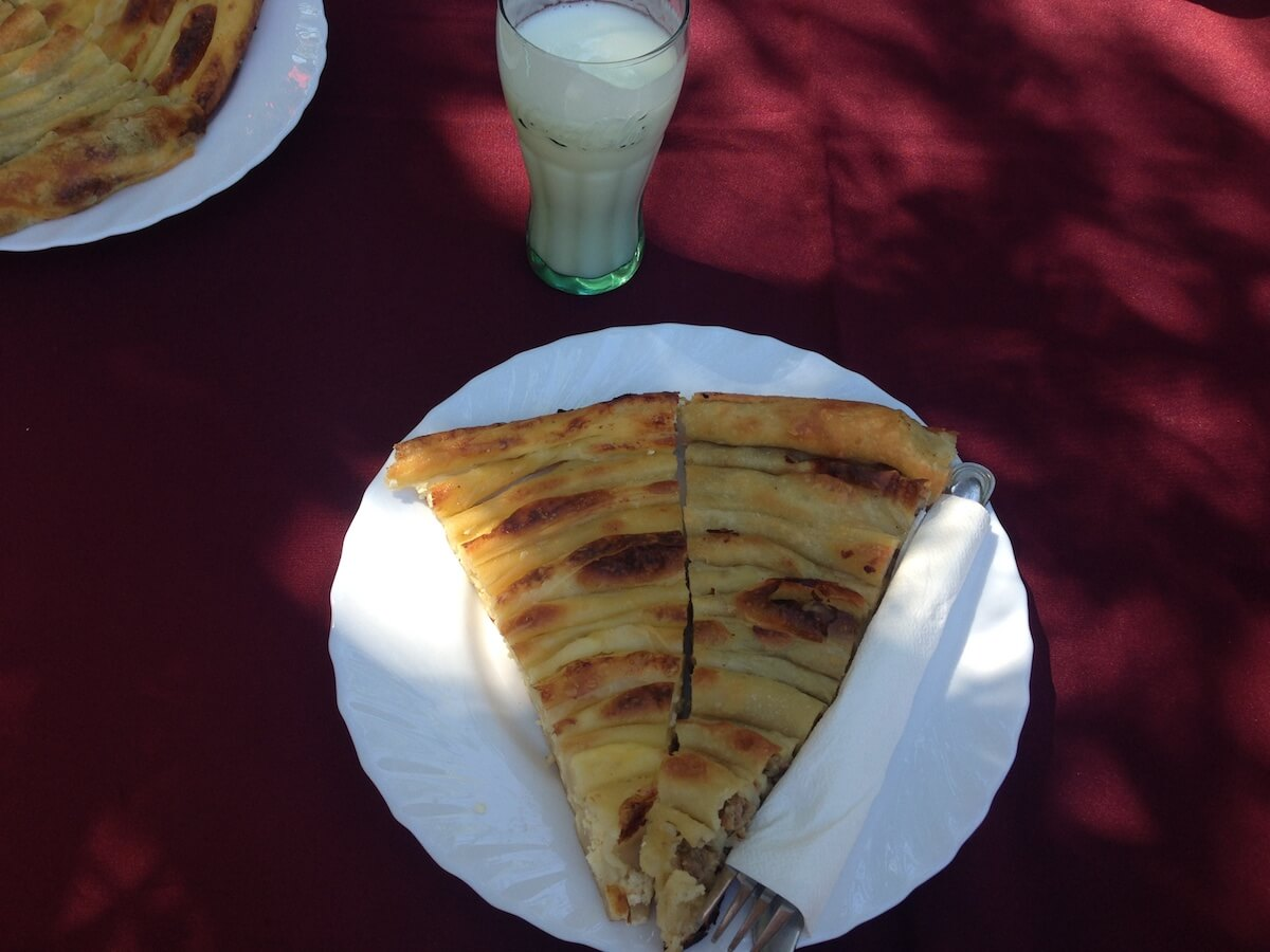 Burek and liquid yogurt breakfast