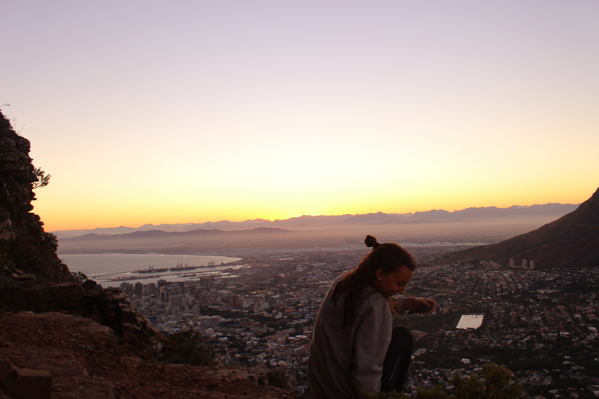 Sun rising in Cape Town
