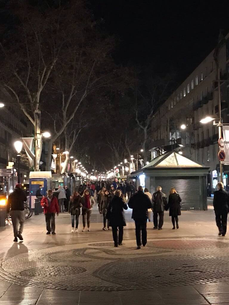 Les Rambles at night