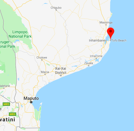 Where's Tofo in Mozambique - map