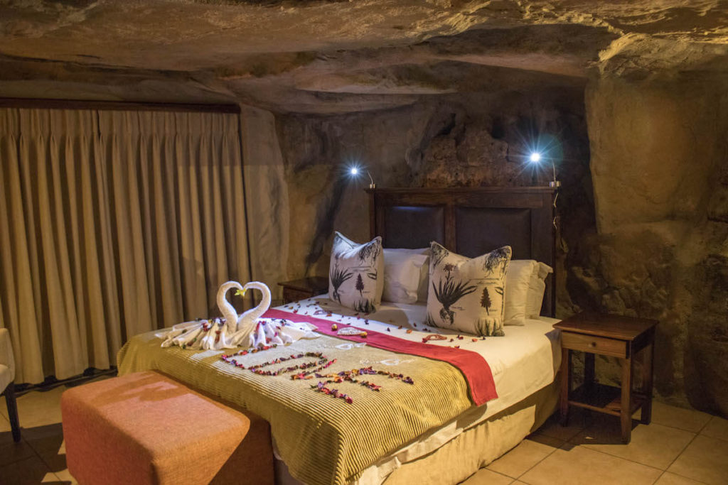 Interior of cave rooms at Kagga Kamma lodge