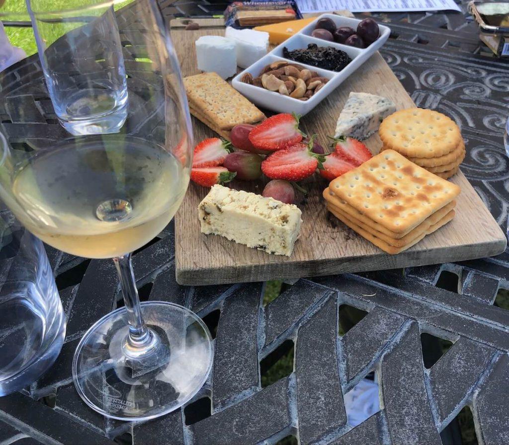 Wine, cheese and crackers boarda